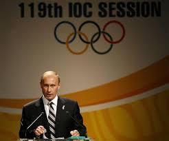 En stolt præsident Putin præsenterer i 2007 Sotjis kandidatur som værtsby for OL 2014. Før budgettet gik amok.